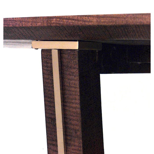 Modern 1940s Vintage French Brass-Mounted Makore Veneered Console Table For Sale - Image 3 of 5