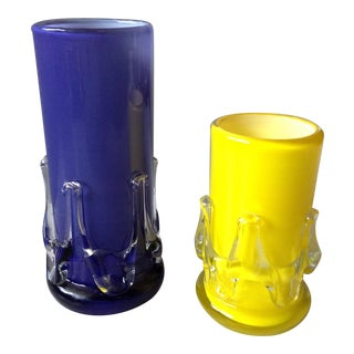 Yellow and Purple Cased Art Glass Vases - Pair For Sale