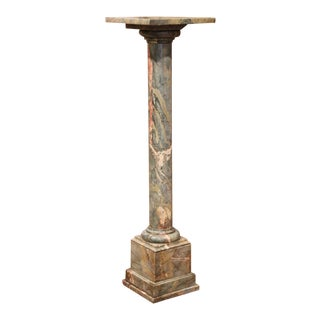 19th Century French Carved Variegated Marble Pedestal Table With Swivel Top For Sale