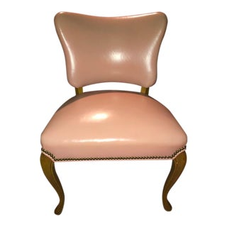 Mid Century American Pink Leather Chair For Sale