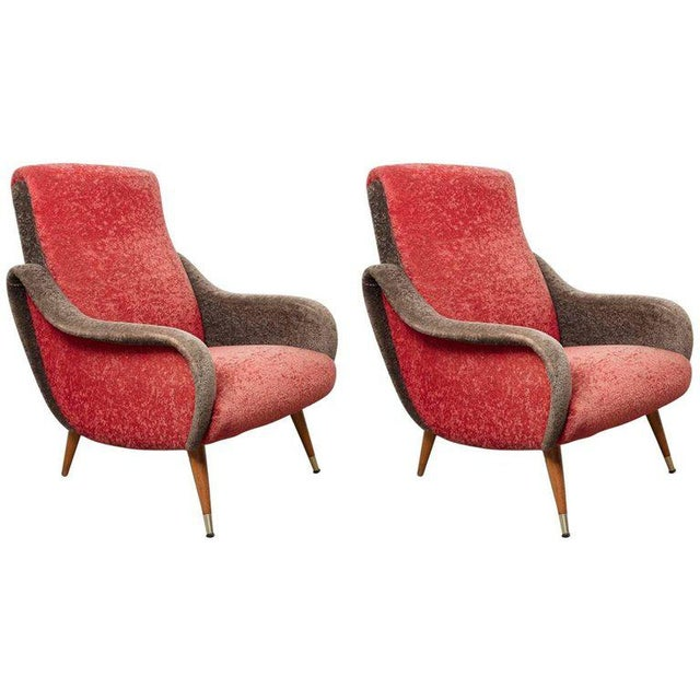 Marco Zanuso Set of Italian 1950s Red and Grey Ladies Lounge Chairs in the Style of Zanuso For Sale - Image 4 of 4