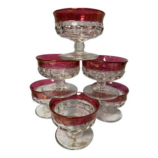 Vintage Tiffin-Franciscan King's Crown Cranberry Champagne/Tall Sherbet Coupes- Set of 6 For Sale
