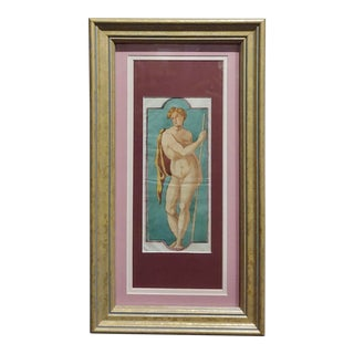 "18th Century ""A Nude Hero"" French Study Watercolor Painting For Sale"