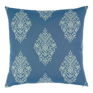 Schumacher Zinda Embroidery Pillow in Bay For Sale