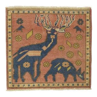 Muave Turkish Pictorial Animal Deer Rug, 1'11'' X 2'7'' For Sale