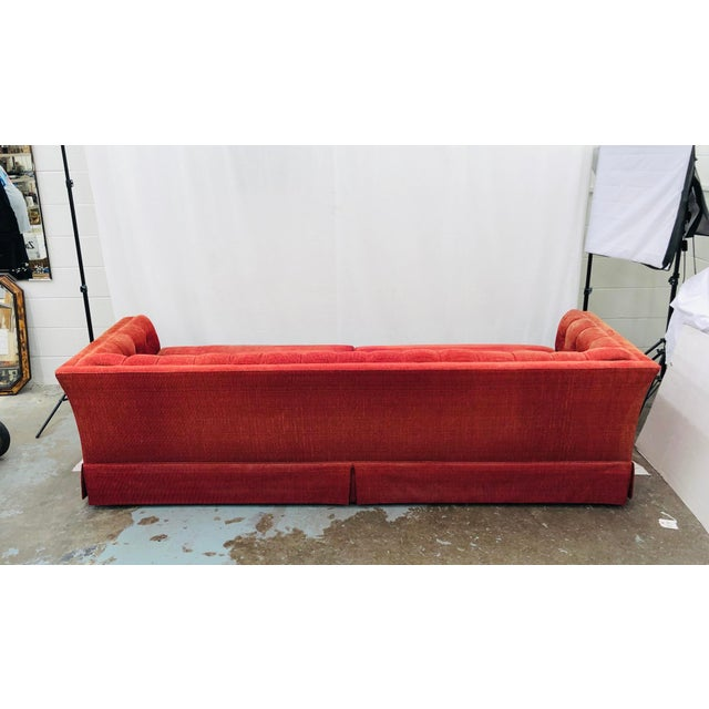 Red Vintage Chesterfield Style Tufted Button Back Sofa For Sale - Image 8 of 13
