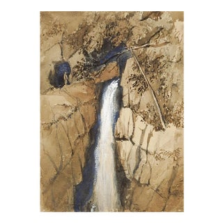 Yorkshire England Waterfall Goauche on Paper Painting