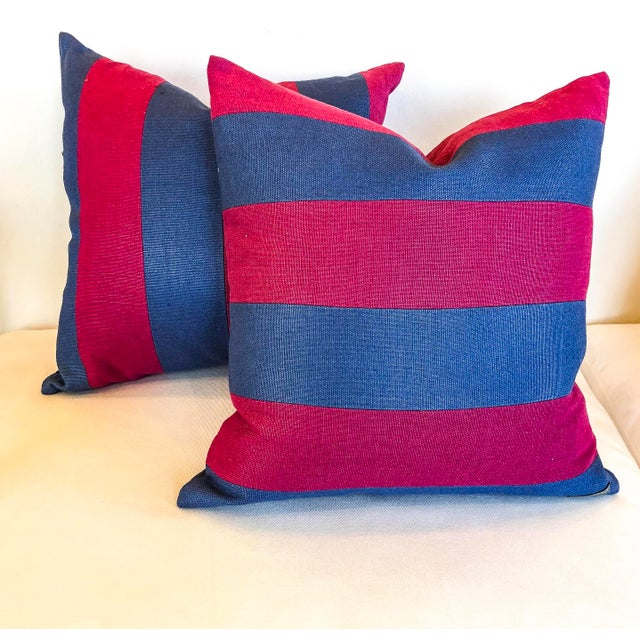 Pink and Blue Striped Linen Pillows - a Pair For Sale In Little Rock - Image 6 of 6