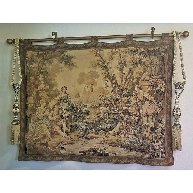 Textile 19c Flemish Wall Tapestry of Country Scene For Sale - Image 7 of 7