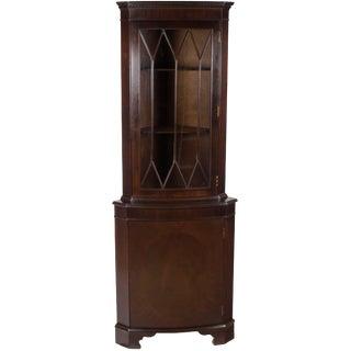 1960s Georgian Mahogany Narrow Corner Cabinet Cupboard For Sale