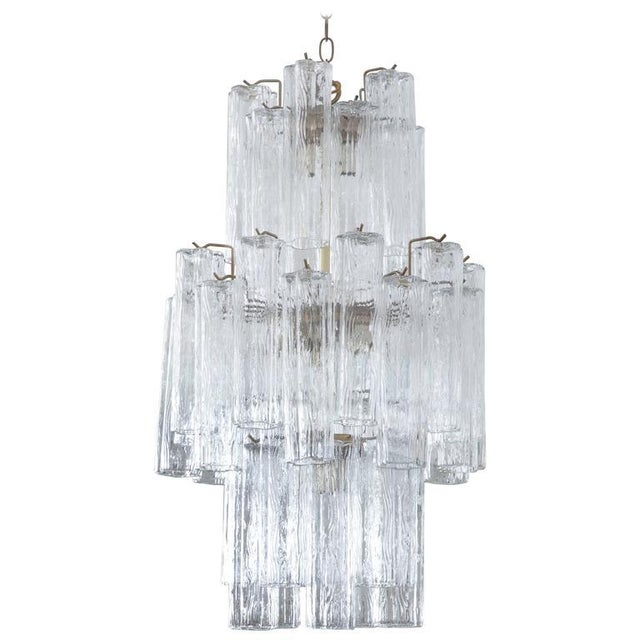 Late 20th Century Modern Murano Glass Cylinder Three-Tier Chandelier For Sale - Image 5 of 5