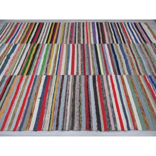 Boho Chic 1960s Vintage Striped Turkish Rag Rug - 7′9″ × 11′ For Sale - Image 3 of 6
