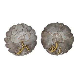 Late 19th Century Asian Brutalist Damascene Steel & Bronze Plates - A Pair For Sale