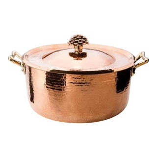 Amoretti Brothers Handmade 10.4 Qt Copper Dutch Oven Flower Lid For Sale