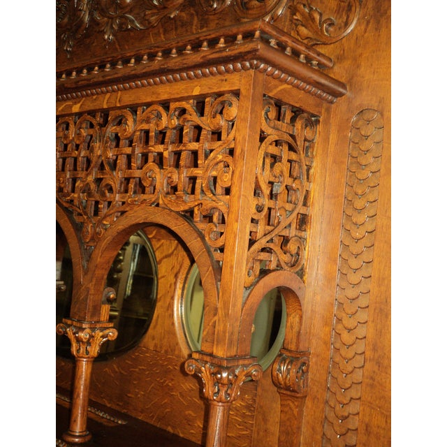 Wood Late 19th Century Highly Carved Oak Fireplace Mantel For Sale - Image 7 of 12