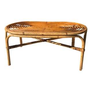 1960s Boho Chic Bamboo/Rattan Bentwood Coffee Table For Sale