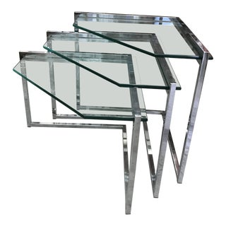 1970s Mid-Century Modern Chrome Nesting Tables - Set of 3 For Sale