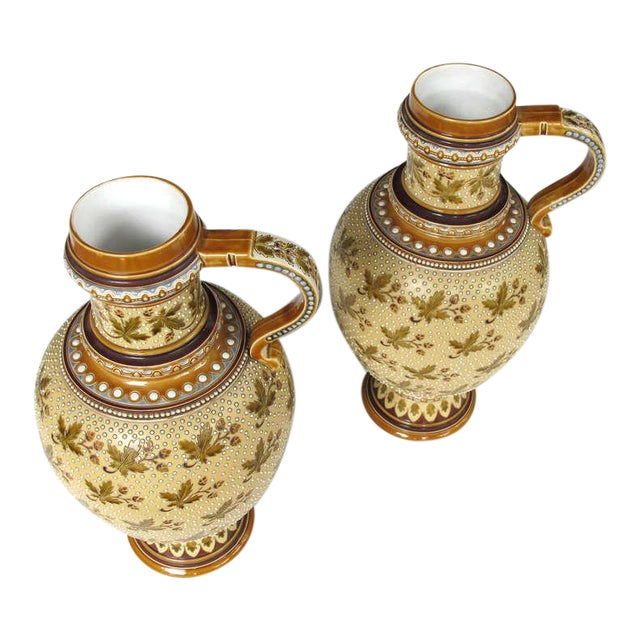 Good Quality Pair of German Mettlach Pottery Ewers With Impressed Maker's Mark For Sale