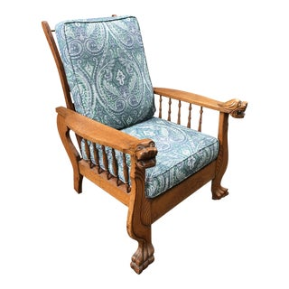 19th Century S.A.Cook Reclining Morris Chair With Griffins For Sale