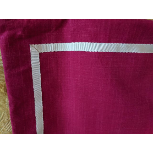 Custom Magenta Pink Linen Pillow Cover For Sale In Charlotte - Image 6 of 12