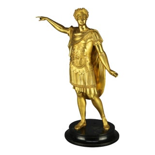 Mid 19th Century Classical Grand Tour Gilt Bronze Sculpture of Emperor on Marble Plinth For Sale