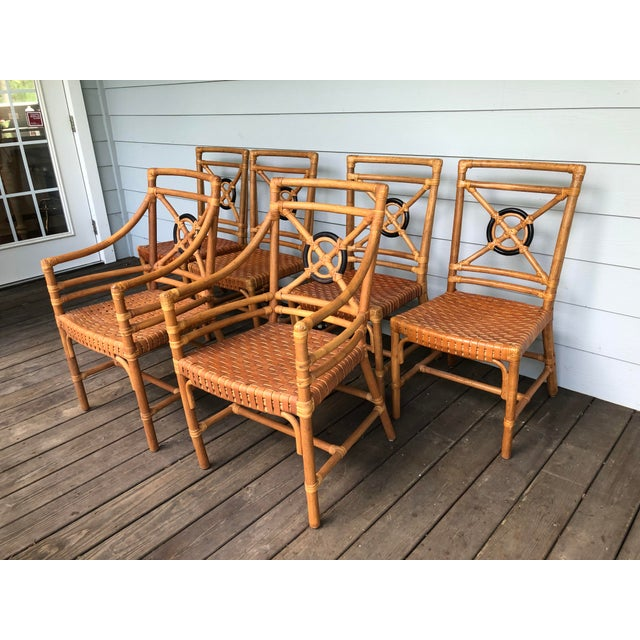McGuire Rattan Rawhide Target Chairs- Set of 6 For Sale - Image 13 of 13