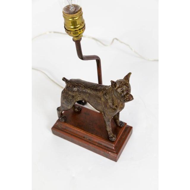 1900 - 1909 Cast Bronze Dog Sculpture Lamp For Sale - Image 5 of 12