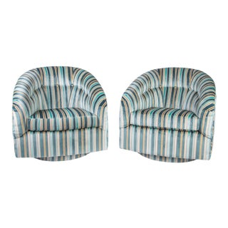 Vintage Striped Velvet Swivel Chairs in the Manner of Milo Baughman For Sale