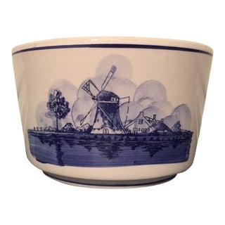 Vintage Blue & White Windmill Scene Bowl For Sale