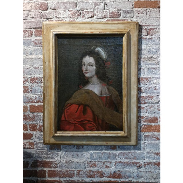 17th century Old Master-Portrait of a Elegant Woman- Oil painting For Sale - Image 10 of 10