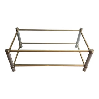 Chrome and Gilt Metal Coffee Table by Pierre Vandel