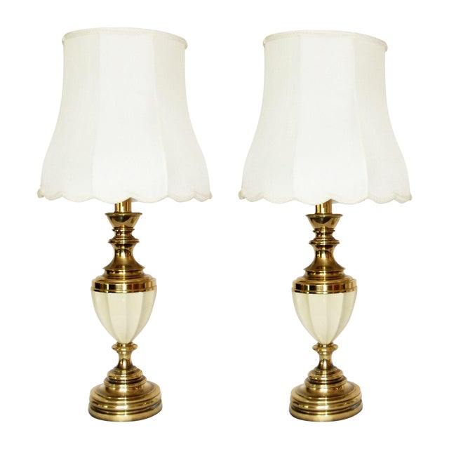 Stiffel Brass & Porcelain Lamps & Shades - A Pair For Sale