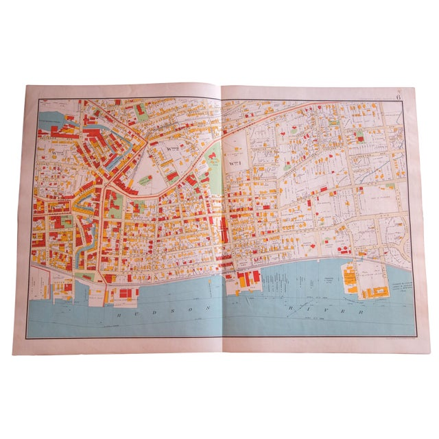 Antique Yonkers City Map For Sale