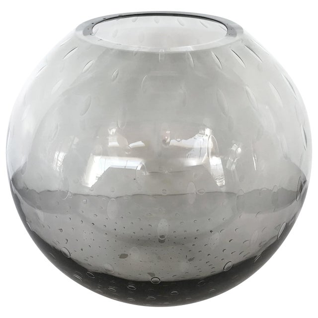 Italian Pulegoso Smoked Murano Glass Vase by Alberto Dona For Sale
