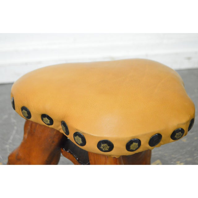 Brown Cypress Tree Root Leather Seat Small Stool For Sale - Image 8 of 10