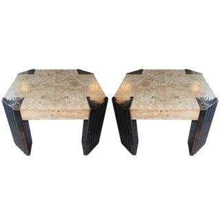 Pair Milo Baughman Side Tables For Sale