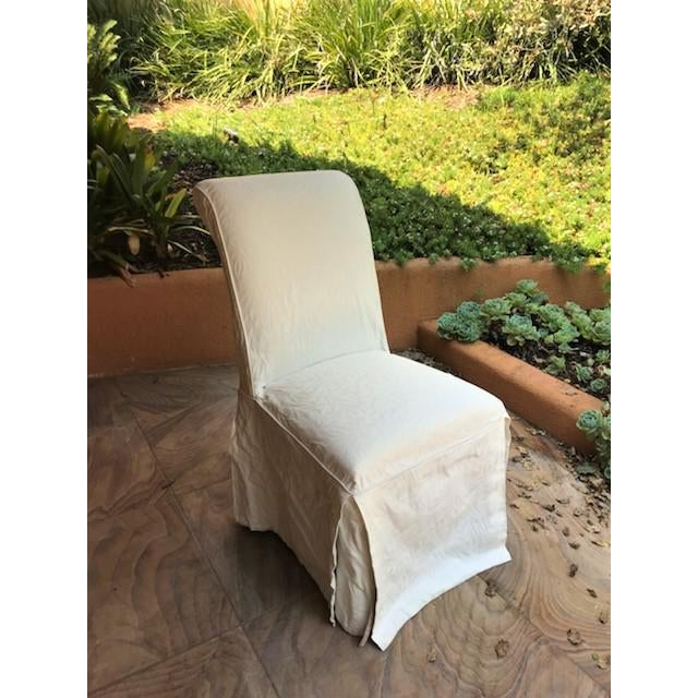 White 1980s Vintage Upholstered Parsons Chairs - Set of 8 For Sale - Image 8 of 13