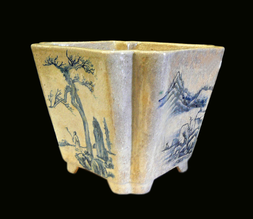 Chinese Handmade Ceramic Blue Graphic Planter Chairish