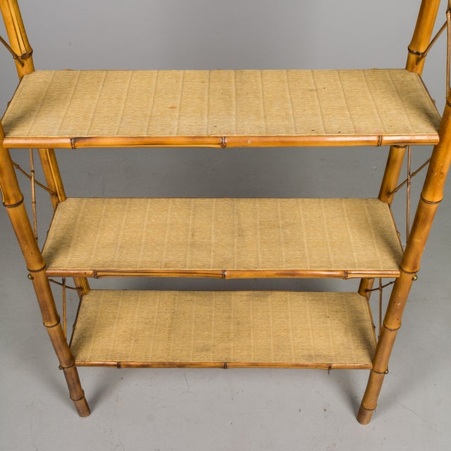 Tan Mid-Century French Bamboo & Rattan Etagere For Sale - Image 8 of 11