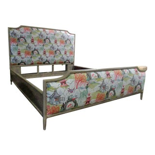 Mid-Century Modern Henredon Furniture Quartz Grey Catherine Queen Upholstered Bedframe For Sale