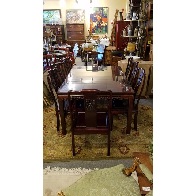 Chinese Hand Carved Rosewood Dining Set for Eight - Image 2 of 11