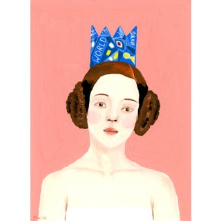"""""""Portrait of a Woman in a Blue Paper Crown"""" Contemporary Gouache Painting by Alexandra Swistak For Sale"""