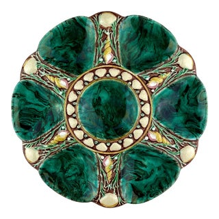 Minton Majolica Oyster Plate 'Malachite,' English, Dated 1873 For Sale