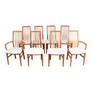 Set of 8 (2 Arm + 6 Side) Danish Teak Upholstered Dining Chairs For Sale