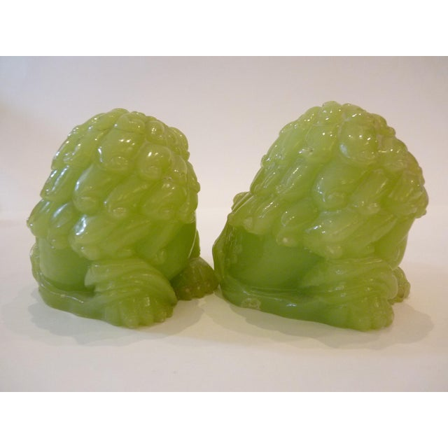 Jade Green Resin Chinese Dragons - Pair - Image 4 of 9