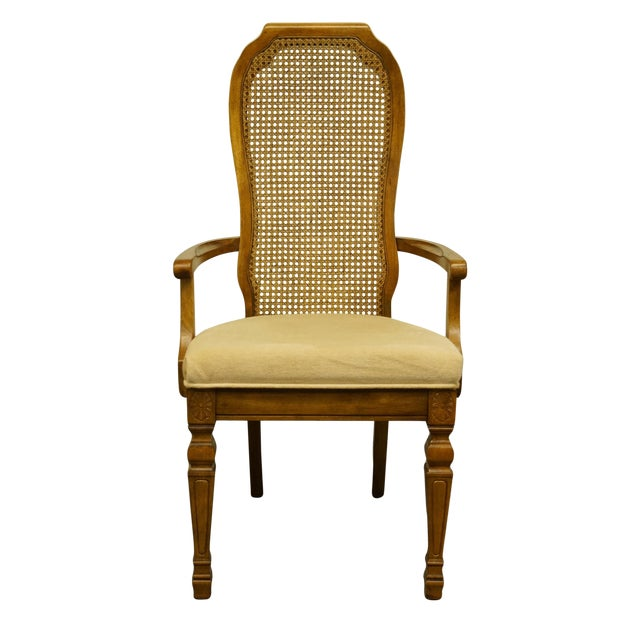 Late 20th Century Bernhardt Furniture Italian Provincial Cane Back Dining Arm Chair For Sale