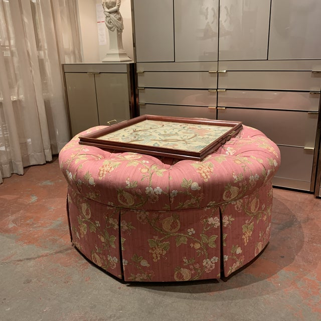 Scalamandre Pomengrante Fabric Round Tufted Ottoman For Sale In Kansas City - Image 6 of 7