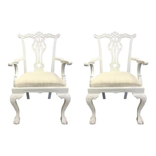 Modern White Lacquer Chippendale Side Chairs Pair For Sale