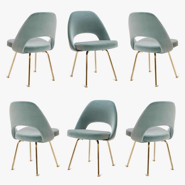 Metal Original Vintage Saarinen Executive Armless Chairs Restored in Celadon Velvet, Custom 24k Gold Edition - Set of 6 For Sale - Image 7 of 7