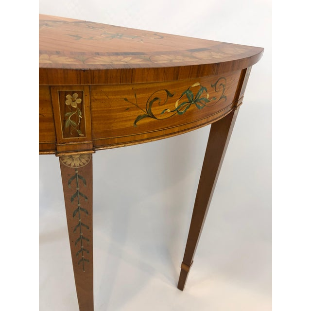 1970s 1970s Traditional Hand Painted Demilune Console Table For Sale - Image 5 of 13